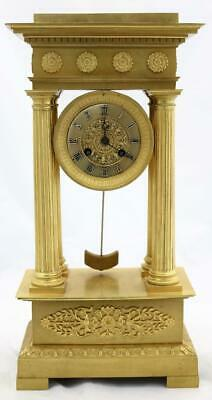 Antique Portico Mantle Clock Exceptional French Ormolu Bronze 2nd Empire 1850's