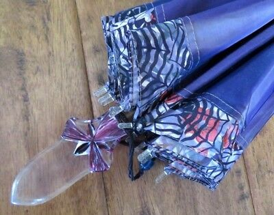 Vintage Elaborate Carved & Painted Lucite Handle Purple Silk Umbrella Parasol