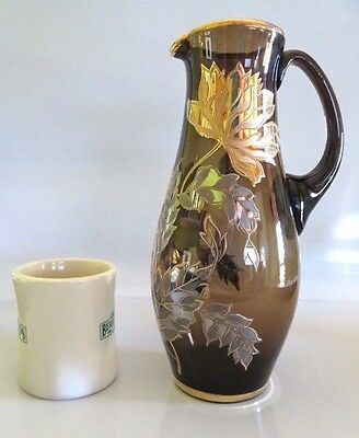 "11"" Tall Vtg Bohemian Blown Glass Ewer Pitcher,Gilt Hp Flowers, Applied Handle"