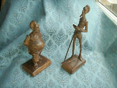 Old Vintage Hand Carved Wooden Don Quixote and Sancho Panza Spanish Figures Pair