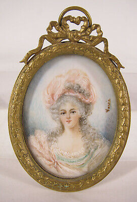Antique 1800's Portrait Miniature Painting of Lady in Pink Signed Garsia yqz