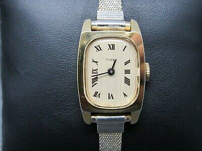 Vintage TIMEX Gold Face & Case Mechanical WIND UP & Metal Band Watch