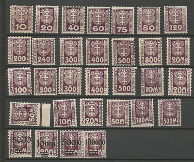 germany Danzig   lot all 3 sets postage stamps coat of arms mint hinged x