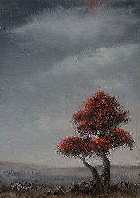 ACEO 2019-121 Pip Walters Original Miniature Landscape Oil Painting Red Tree