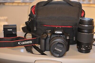 canon eos 4000d DSLR W/ 18-55mm & 75-300mm Kit