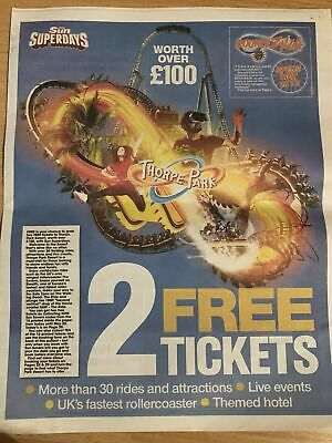 2 X Thorpe Park Tickets Booking Form & 10 Tokens to Claim 2 Free Tickets