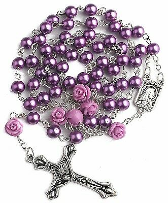 """Catholic Purple Pearl Beads Rosary Necklace Our Rose Lourdes Medal Cross 19"""""""