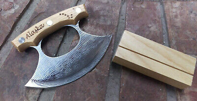 Alaska Ulu Knife with Wood Handle and Display stand! Stainless Steel Damascus