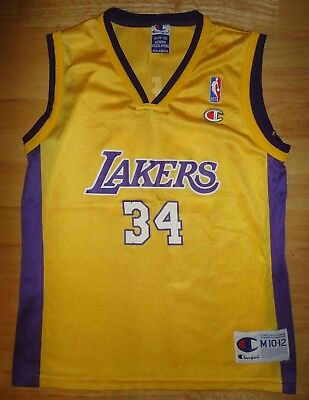 295f412b0dd SHAQUILLE SHAQ O'NEAL Champion LOS ANGELES LAKERS Yellow Jersey - Youth  Medium