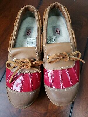 413b106db49 UGG AUSTRALIA ASHDALE Red Tan Duck Boot Size 8 Leather Rain Water Shoes
