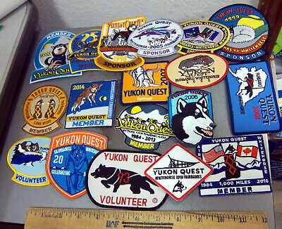 Alaska Yukon Quest 1000 mile Dog Sled Race Embroidered Patch set, 18 different