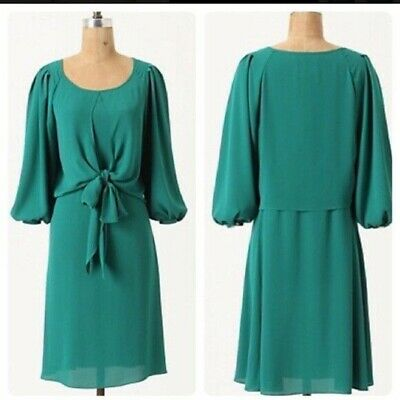 29ea9fedb363d Maeve Valparaiso green wrap front tie dress XS 2 4 Anthropologie 3/4 sleeve