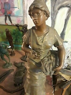Antique French  Women Metal Sculpture  23""