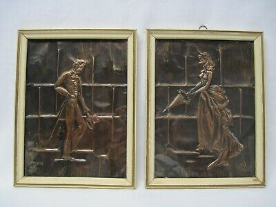 Vintage Wall Art, Victorian Couple,Framed Copper Plates Wood Frame & Glass, Mjh