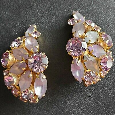 (Patented) HIGH END! Vintage LARGE Purple Givre Glass Flower Clip Earrings K28