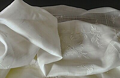 Vintage White Linen Organza Tablecloth Square Uu569
