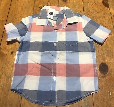 NWT BABY GAP BOYS SHIRT TOP poplin button down 4th July flag  USA    u pick size