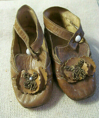 Adorable~Pair Antique Girls Toddler Fancy Leather Shoes w/Ankle Strap & Rosettes
