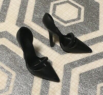 Elegant Rose Cocktail Silkstone Barbie High Heels ONLY-Black Stiletto Shoes