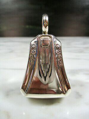 ANTIQUE ART NOUVEAU / DECO EMBOSSED SOLID STERLING SILVER BELL BABY RATTLE 18.5g