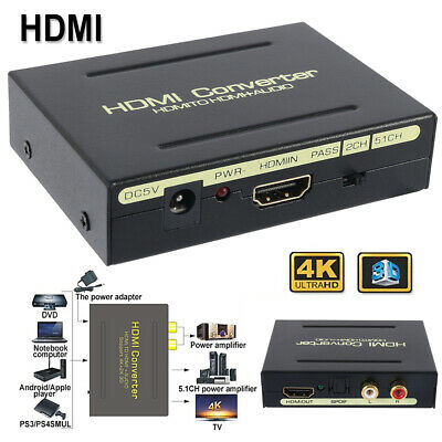 1080P Audio Extractor Converter Splitter HDMI to HDMI & Optical SPDIF + RCA L/R