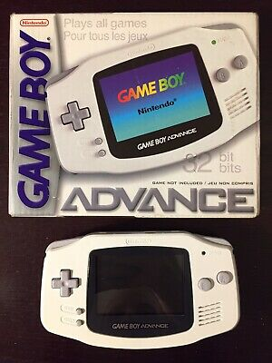 Nintendo Game Boy Advance Arctic Handheld System with Box, Gameboy