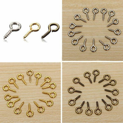 100 Tiny Mini Eye Pins Eyepins Hooks Eyelets Screw Threaded Peg Jewelry  8x3.5mm