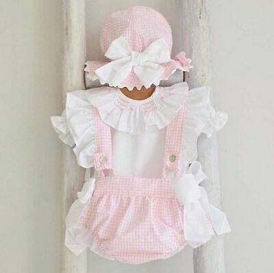 87ee9cece UK Canis Newborn Baby Girl Clothes Romper Plaids Overalls Dress 2pcs  Outfits Set