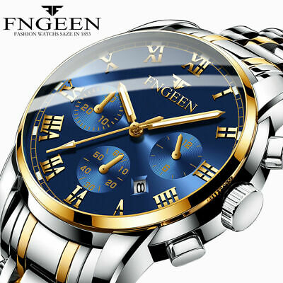 FNGEEN Luxury Mens Watches Quartz Stainless Steel Analog Sports New Wrist Watch
