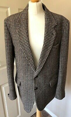 HARRIS TWEED JACKET Dunn and Co chest 40' sports coat Men's Beige dogtooth