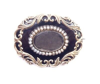 Mourning Brooch large 9 carat gold pearls and enamel 21.8g 1849