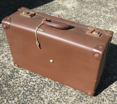 Small Brown Kids Childrens Vintage School Case with keys