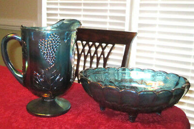 2PC set CARNIVAL GLASS FOOTED FRUIT BOWL & PITCHER Peacock Blue IRIDESCENT
