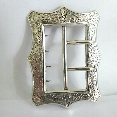 Victorian Solid Silver Buckle Hm Birmingham 1885 Pretty Chased Design By D & L S