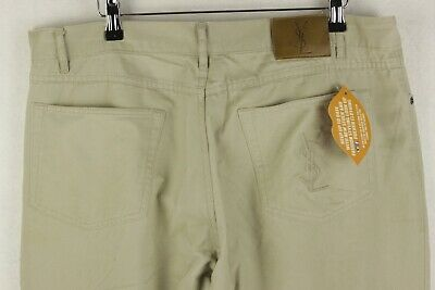 d4dcd69427b YSL SPELL OUT Mens YVES SAINT LAURENT Jeans CHINO Button Fly W36 L32 CREAM  P46