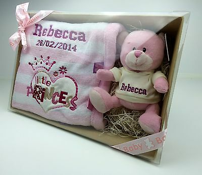 Personalised Teddy & Blanket Gift Set in Presenation Box - * Great Baby Gift *