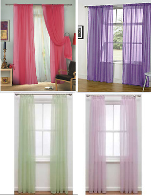 """1 Pair (2 Panels) Of Lucy Voile Slot Top Panels  Net & Voile Curtains 60"""" x 90"""""""