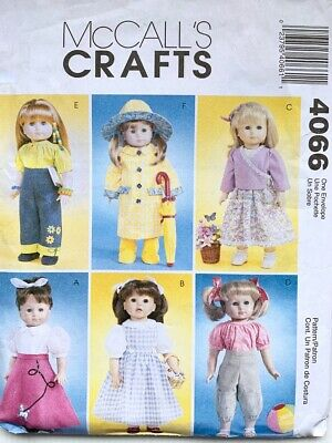 """McCalls Crafts Sewing Pattern 4066 - 18"""" Doll Clothes - 6 Outfits"""