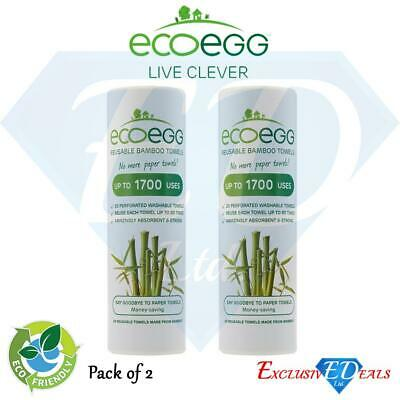 2 x Ecoegg Re-Usable Bamboo White Towels - Kitchen Cleaning, Wiping & Dusting