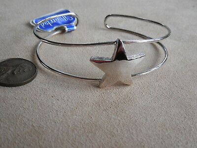 Vintage NOS lot of 4 cool 70s silver tone star adjustable cuff bracelets DB #1