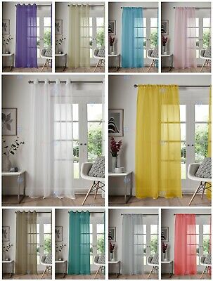 Eyelet Ring Top Voile Curtain Net Panel Slot Top Voile Curtain Nets All Sizes