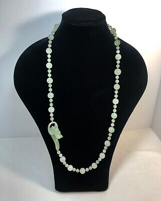 """Antique Chinese Carved Jade Jadeite Dragon Necklace Hand Knotted 32"""" LONG - 95g"""