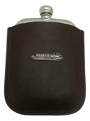 Barge Boat Pewter 4oz Kidney Hip Flask Leather Pouch FREE ENGRAVING 020