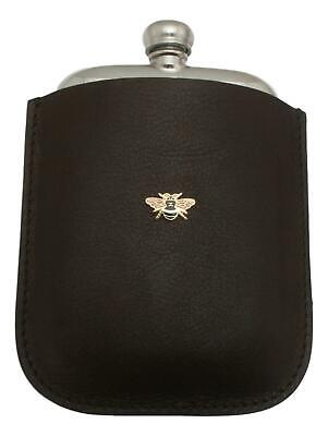 Bee Enamel Pewter 4oz Kidney Hip Flask Leather Pouch FREE ENGRAVING 028