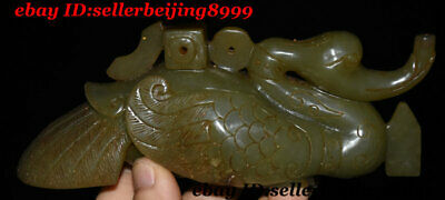Antique Chinese Old Hard Jade Carved Delicate Square Cong On Bird Duck Statue