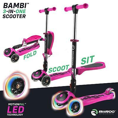 RiiRoo 3 in 1 Tri Push Foldable 3 Wheel Kids Kick Scooter With Seat & Led Wheels