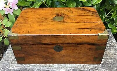 Old Antique Victorian Rosewood Mahogany Brass Inlay Detail Writing Slope Box TLC
