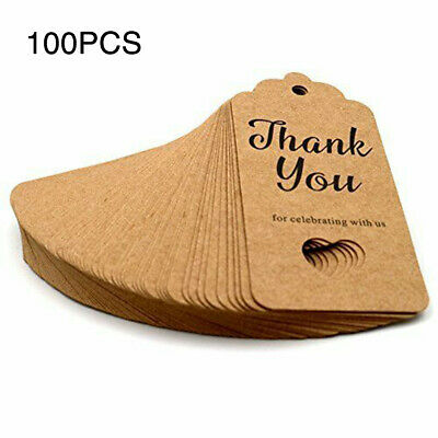 """100pcs Kraft Paper Hang Tags Wedding Party Favor """"thank you"""" Hanging Label New"""