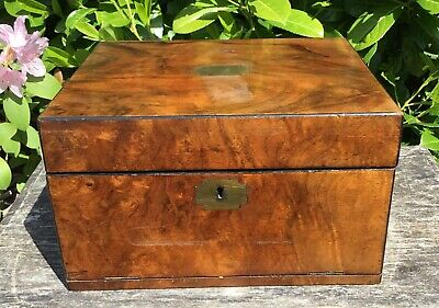 Old Antique Victorian Rosewood Mahogany Brass Inlay Keepsake Box With Drawer TLC