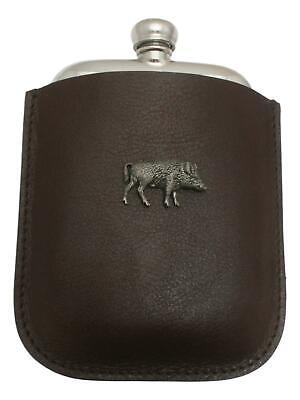 Boar Running Pewter 4oz Kidney Hip Flask Leather Pouch FREE ENGRAVING 35